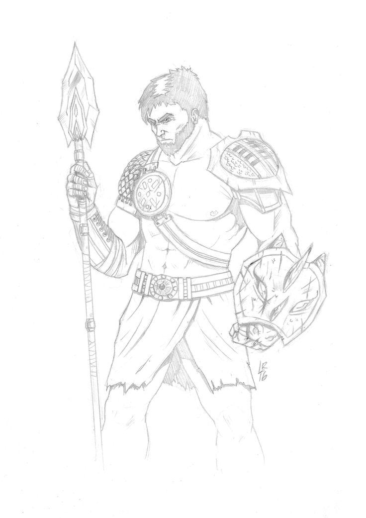 736x1041 Heroe Griego Inspirado Por God Of War Sketchbook Bocetos