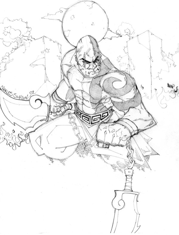 600x788 Kratos From God Of War By Charlessimpson