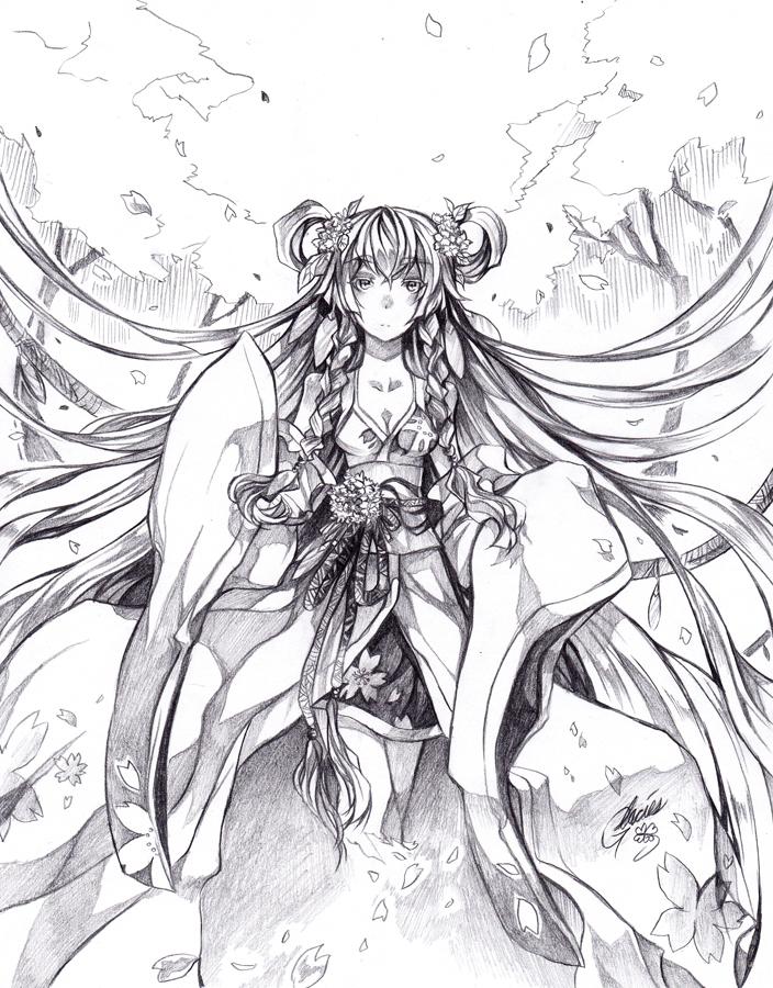 704x900 Goddess Of The Sakura By Glaciesclover