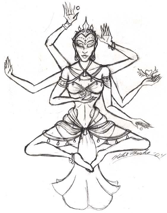 563x717 Hindu Goddess Lady By Little Katydid