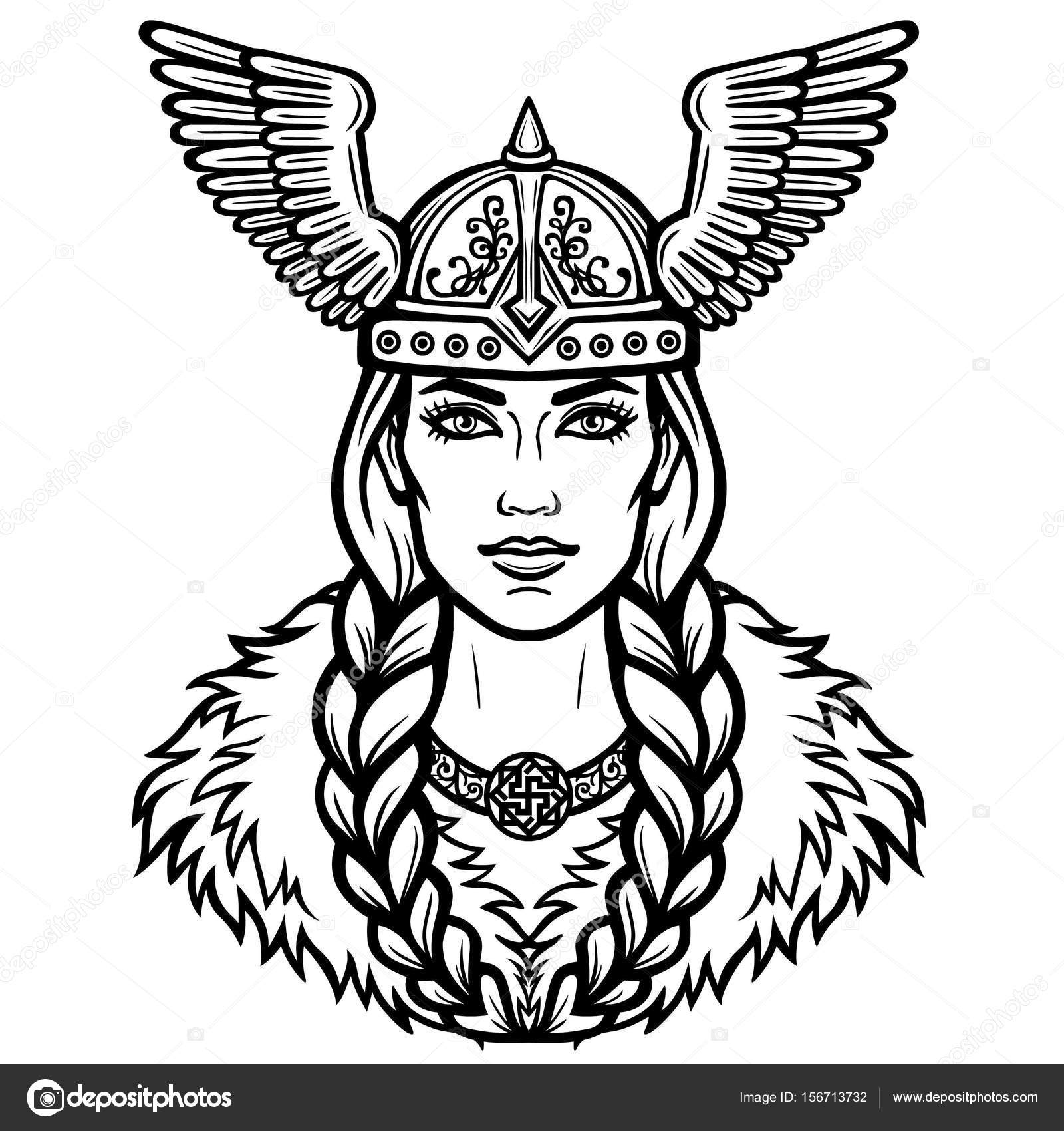 1600x1700 Portrait Of The Beautiful Young Woman Valkyrie In A Winged Helmet