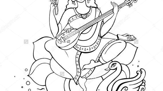 570x320 Simple Drawing Of Saraswati Hindu Goddess Saraswati Vector Hand