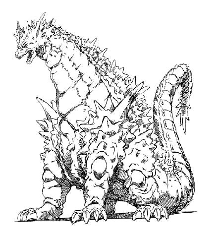 436x480 Godzilla Vs Space Godzilla (1994) Concept Art Godzilla Concept