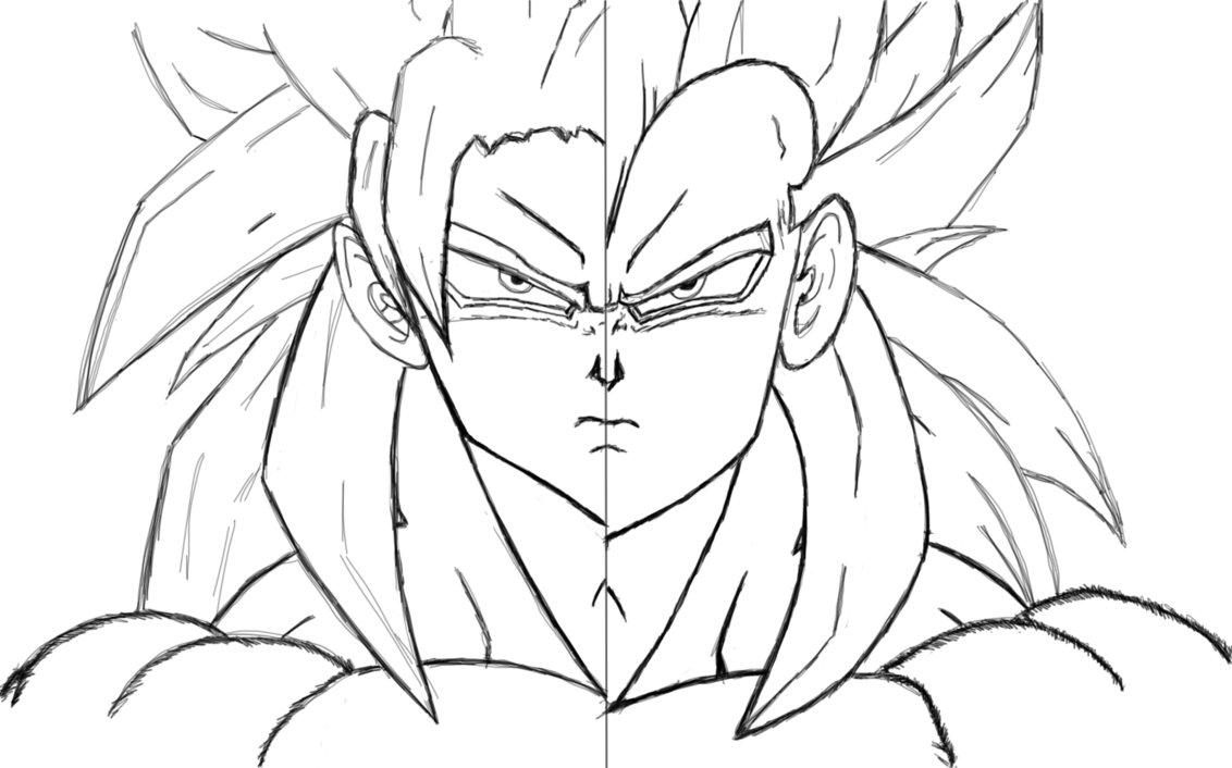 1132x706 Goku Vegeta Ssj4 Outline By Nightmareitachi