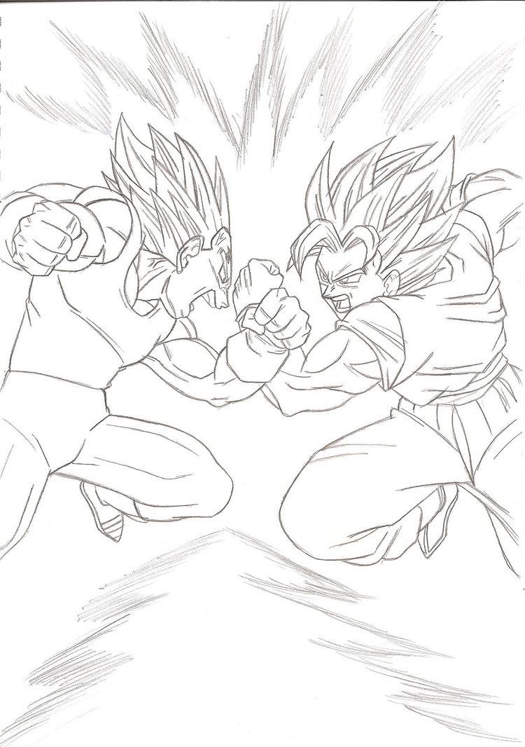 750x1066 Goku Vs Majin Vegeta Lineart By Kingvegito