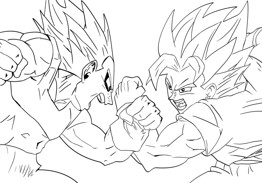1024x714 Goku Vs. Vegeta Lineart By Il Guano