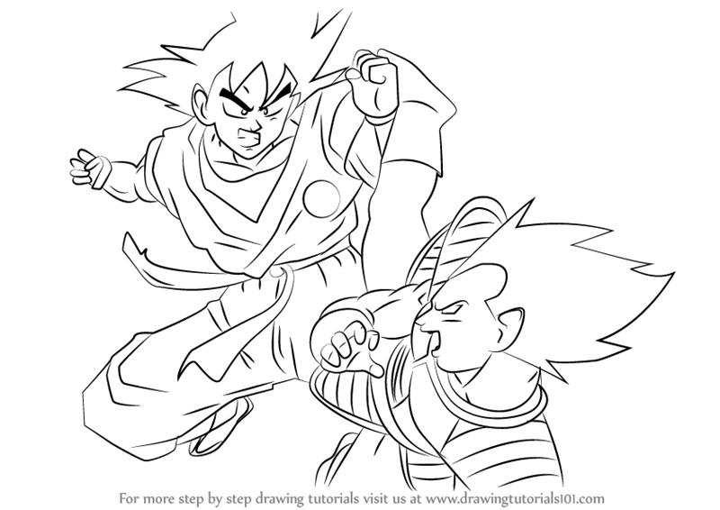 800x566 Learn How To Draw Goku Vs Vegeta (Dragon Ball Z) Step By Step
