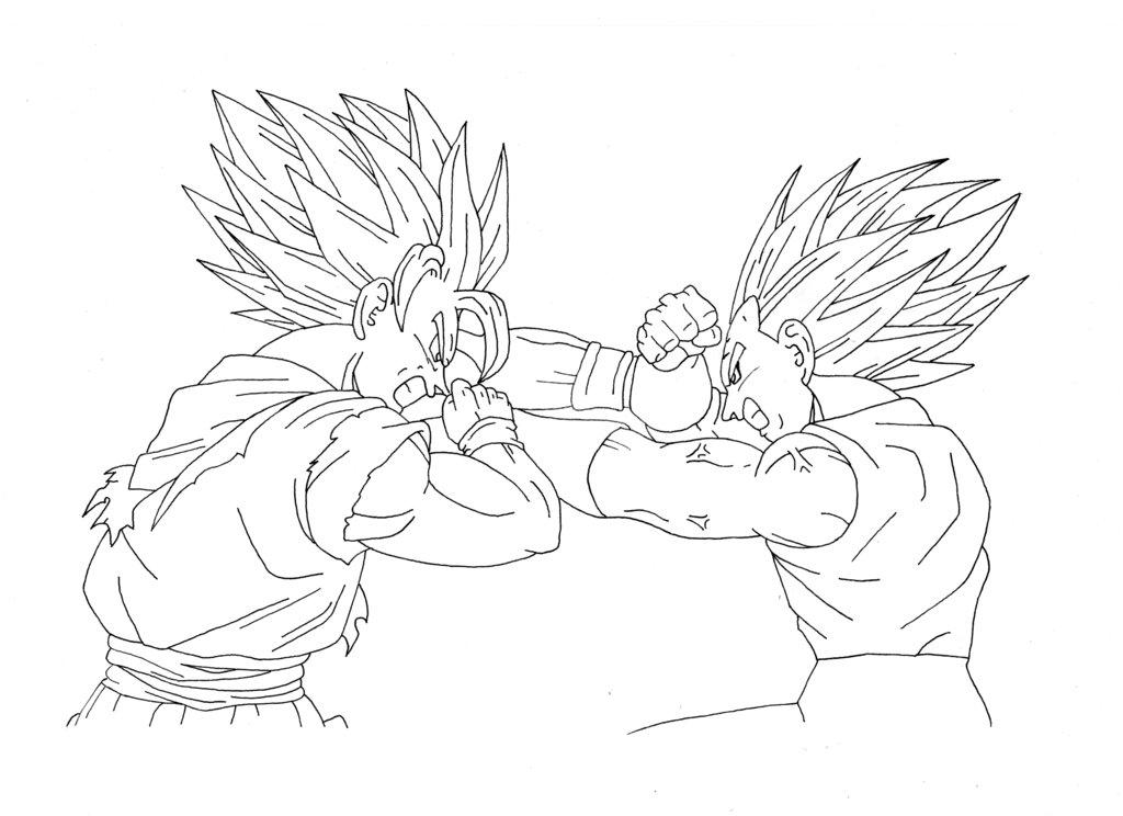1024x744 Esquisse Goku Vs Vegeta By Dbzdrawing