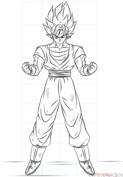 399x575 How To Draw Goku Super Saiyan Step By Step Drawing Tutorials