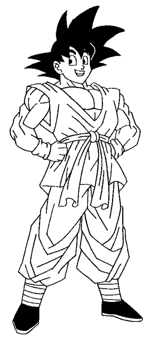 300x687 How To Draw Son Goku From Dragon Ball Z Step By Step Drawing