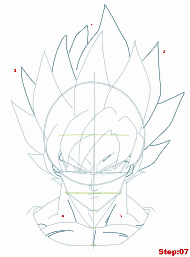 759x1024 Drawing Goku Super Saiyan From Dragonball Z Tutorial Step 07