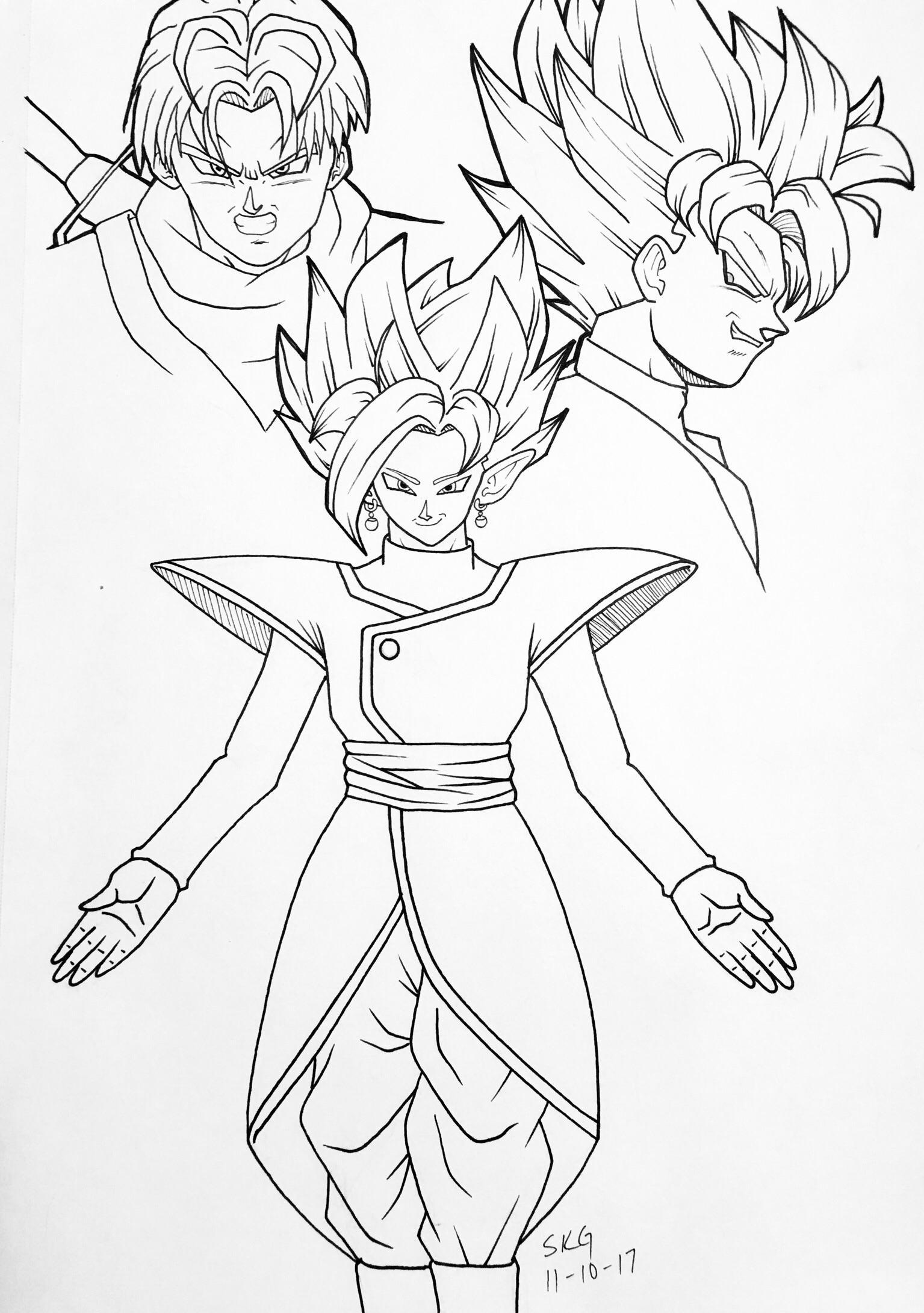 1535x2182 Oc] Fused Zamasu, Goku Black, Amp Trunks. Please Critique! Dbz