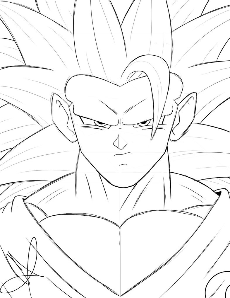 786x1017 Ssj3 Son Goku (Sketch) By Cvanims