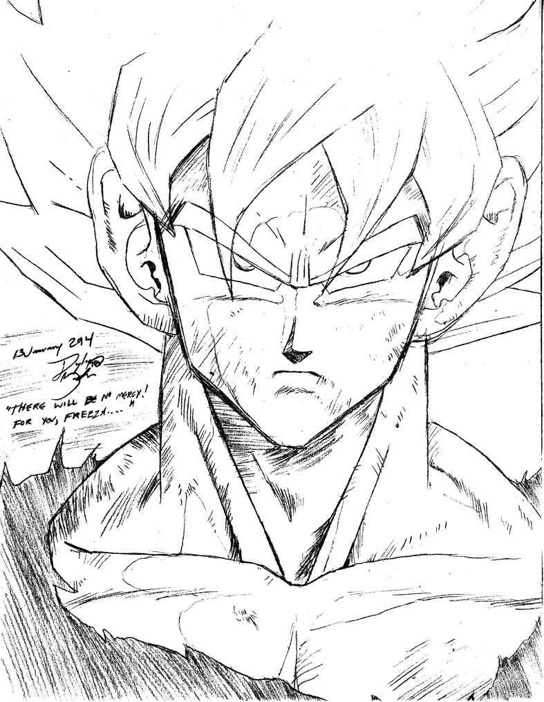 787x1015 Son Goku Super Saiyan, Manga, Sketch Practice By Goxgo