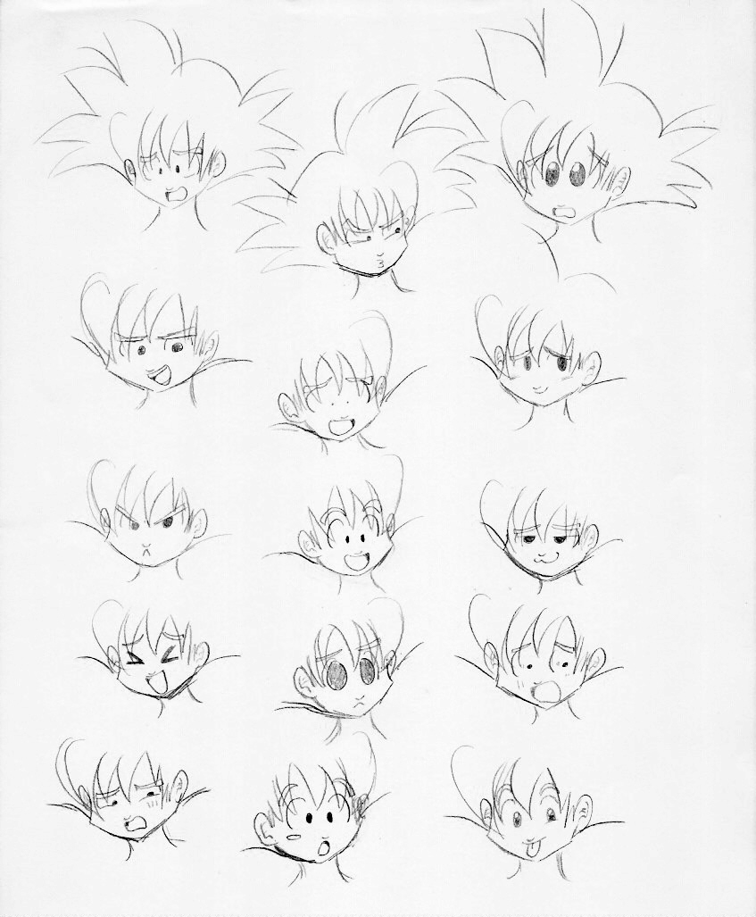847x1027 Goku Face Expression Sketches By Chuquita