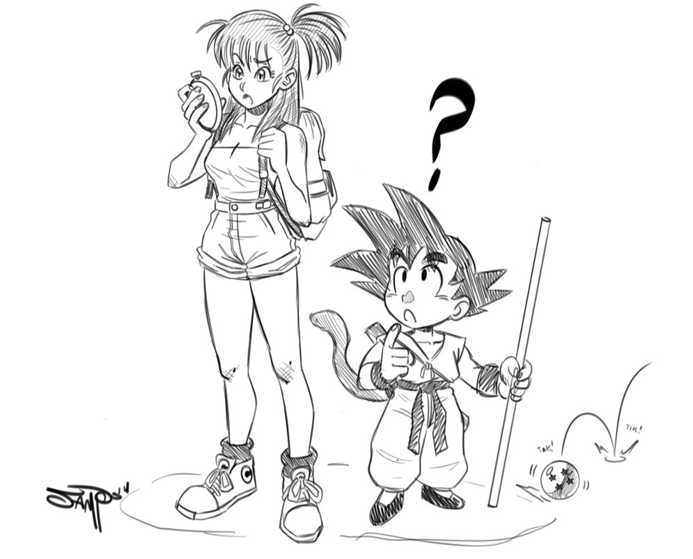 995x802 Bulma And Goku Sketch By Ryanjampole