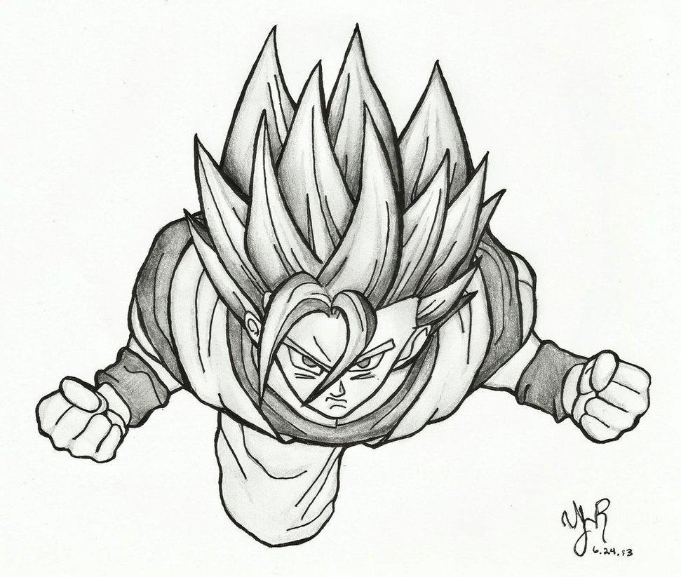 971x823 Goku In Action Sketch By Verseapetrova