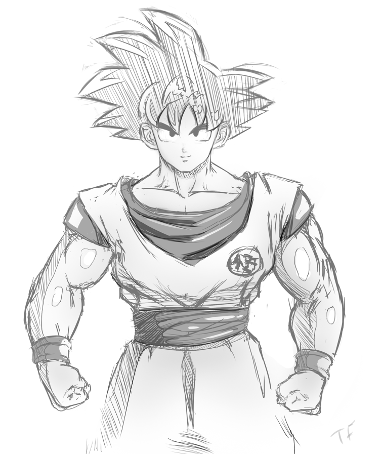 753x897 Goku Sketch By Pisces3ferver
