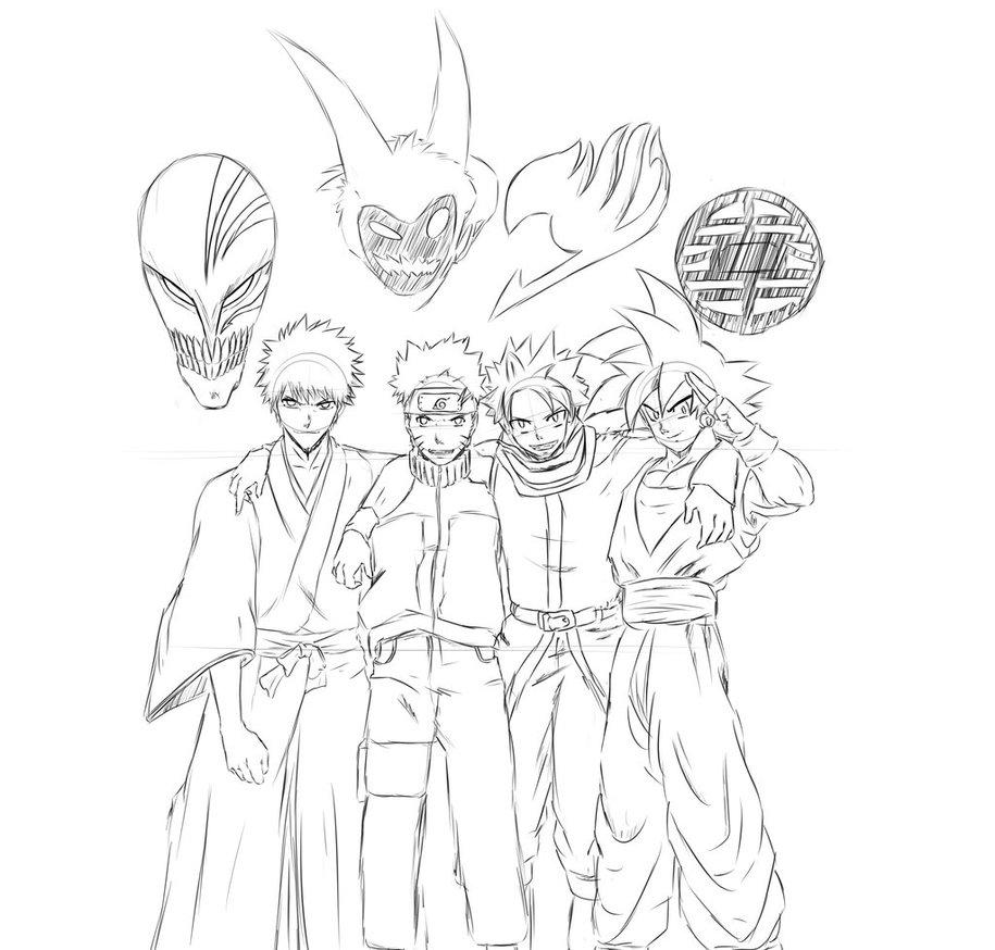 915x874 Ichigo,naruto,natsu,goku Sketch By Terryboi2