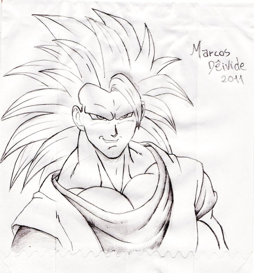 861x927 Sketch Goku Ssj Level 3 By Rosan Mate