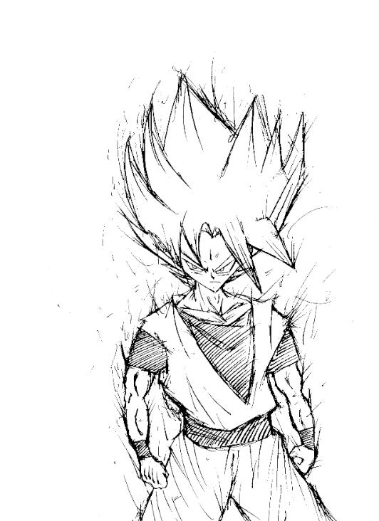 532x732 Super Saiyan Goku Rough Sketch By Ninozap0