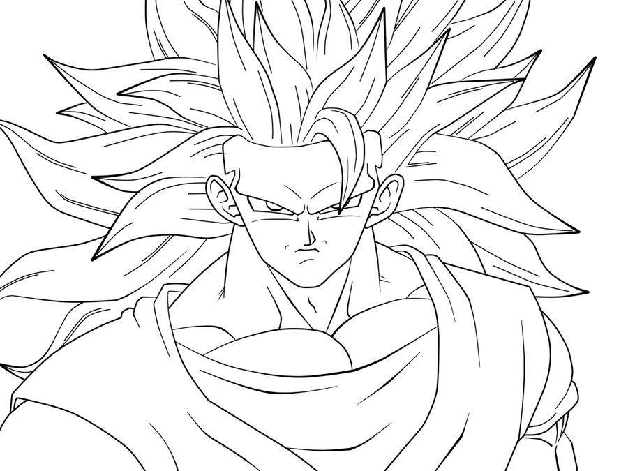 900x675 Sjj3 Goku Closeup Lineart By Carapau Goku Goku