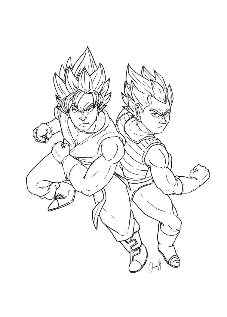 755x1057 Ssgss Goku And Vegeta Lineart By Blueast