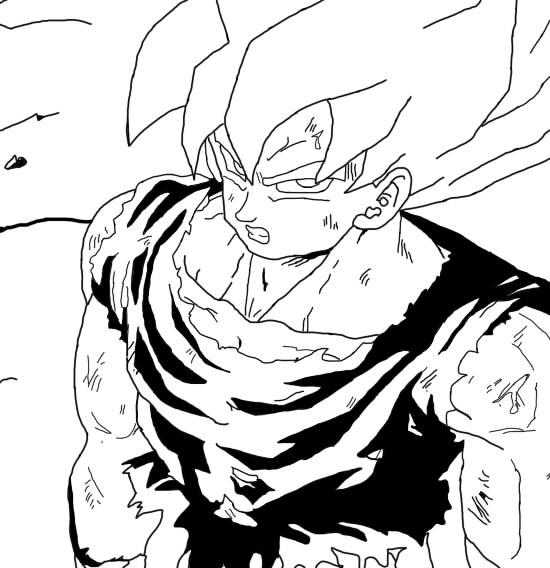 550x568 Goku Ssj1 First Appearance Re Draw (Black White) By Burnssybie