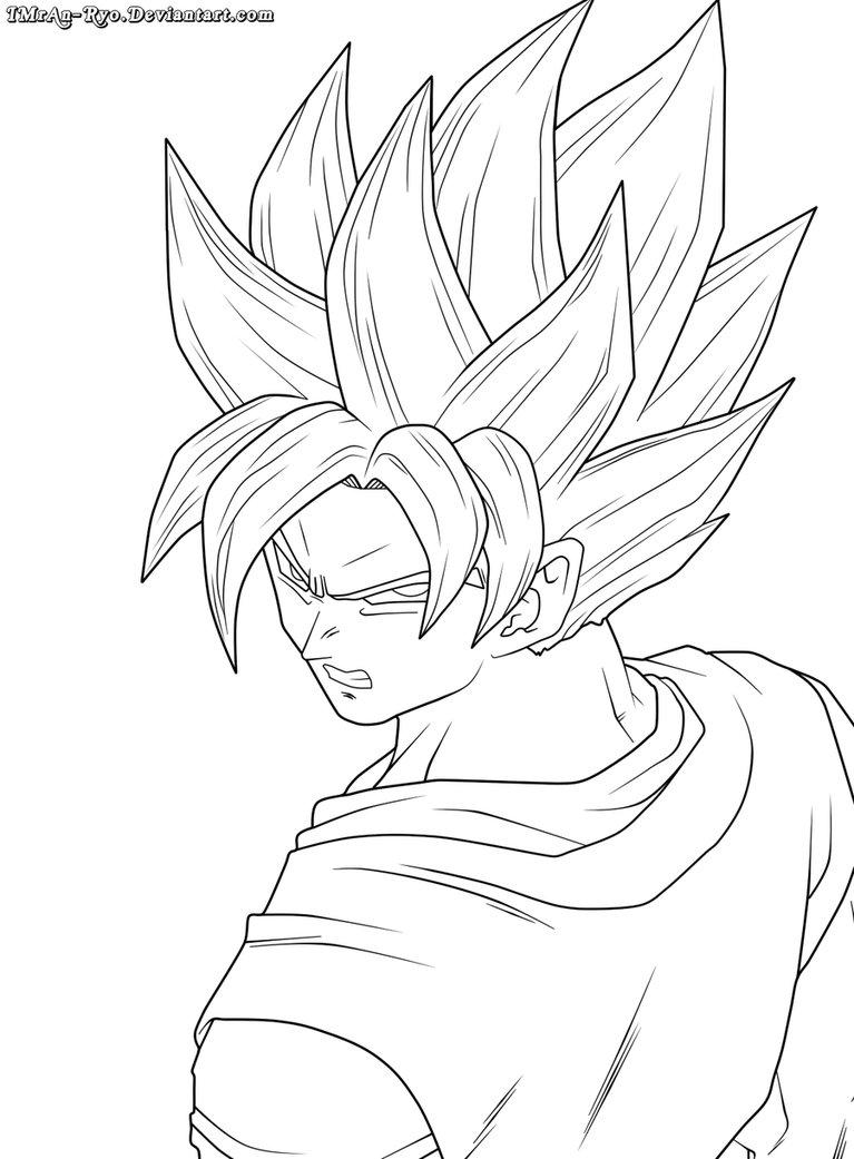 767x1041 Goku Lineart By Imran Ryo