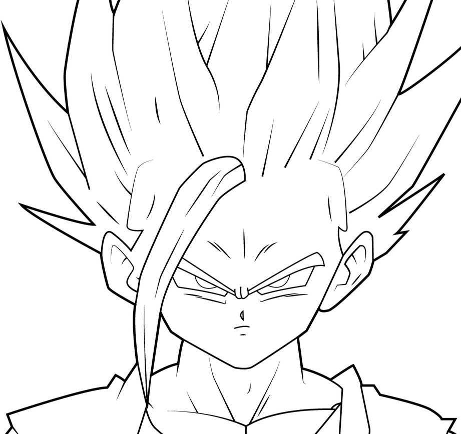 921x868 Gohan Super Saiyan 2 Lineart By Zignoth