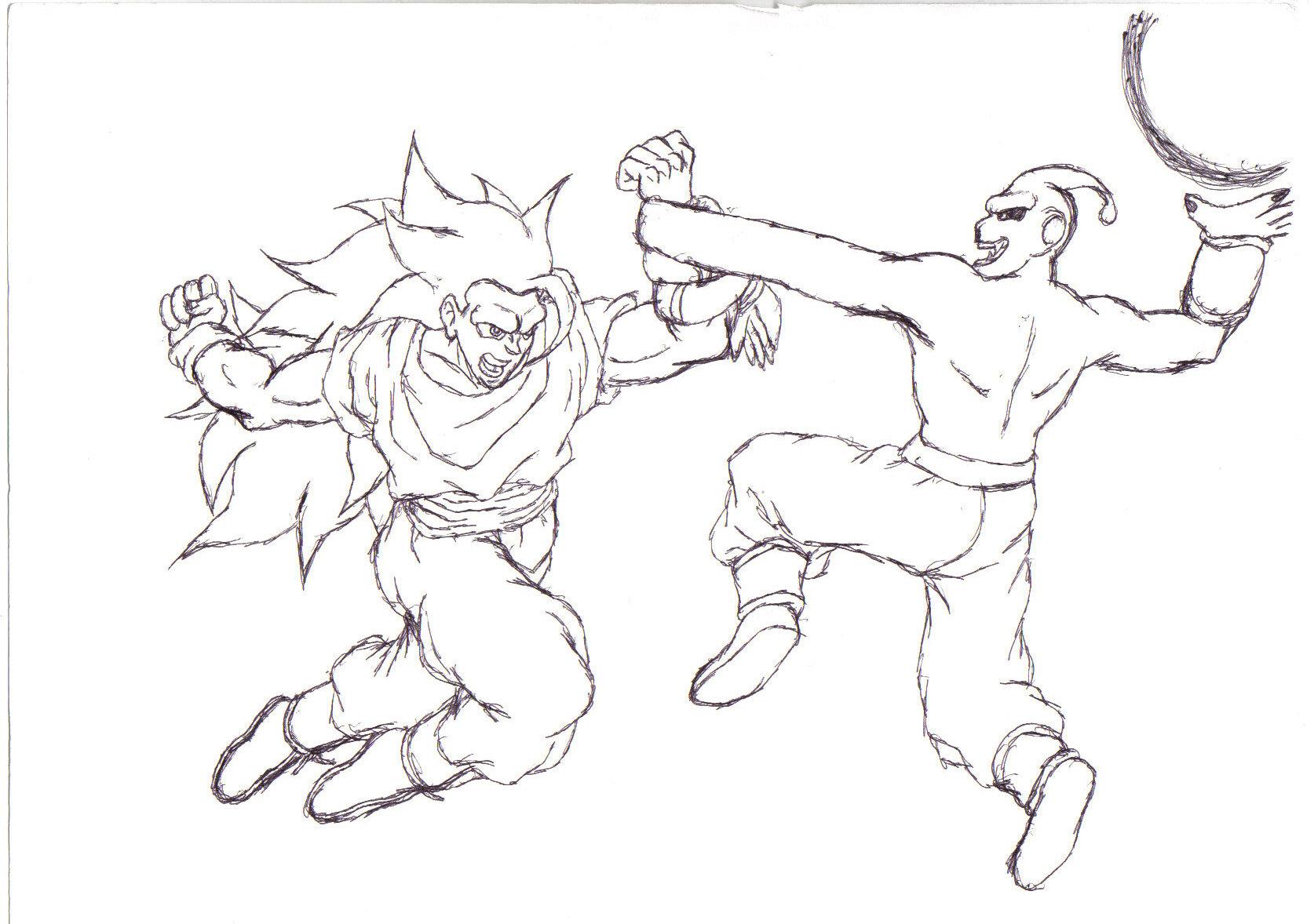 1674x1178 Super Saiyan 3 Goku Vs Kid Buu By Grey Cain