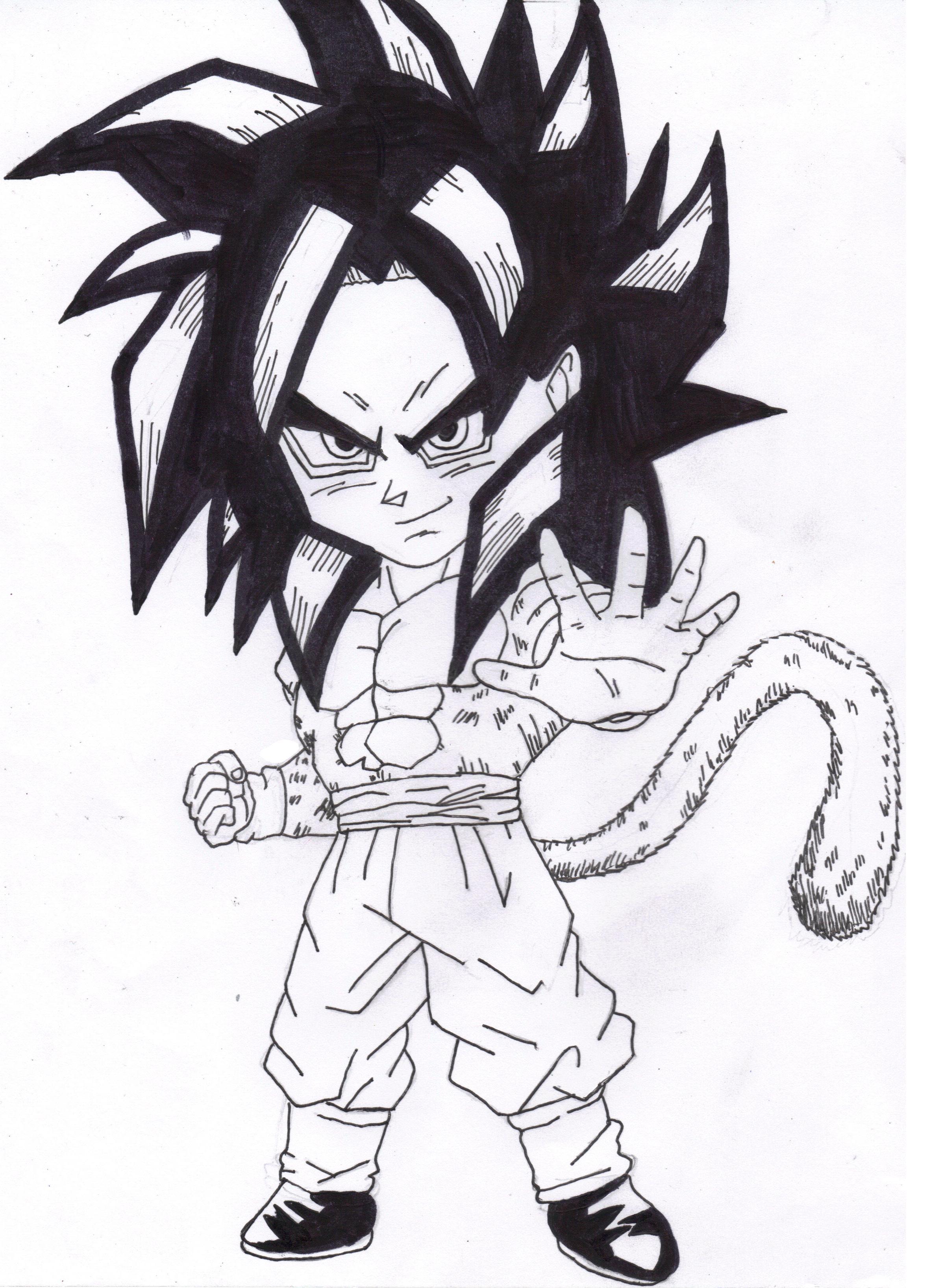 Goku Super Saiyan 4 Drawing At Getdrawings Com Free For