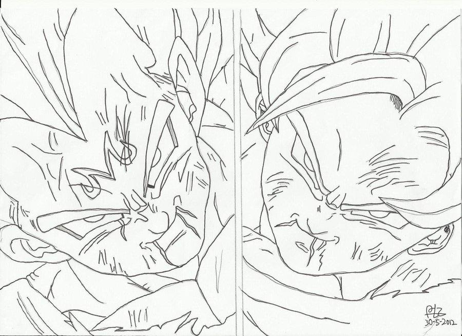 Majin Vegeta Vs Ssj2 Goku Lineart By Brusselthesaiyan On: Goku Vs Vegeta Drawing At GetDrawings.com
