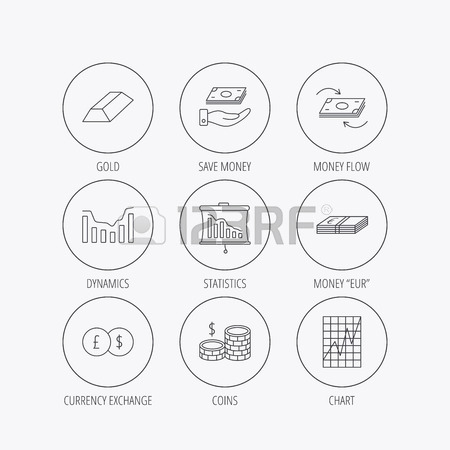 450x450 Banking, Cash Money And Statistics Icons. Money Flow, Gold Bar