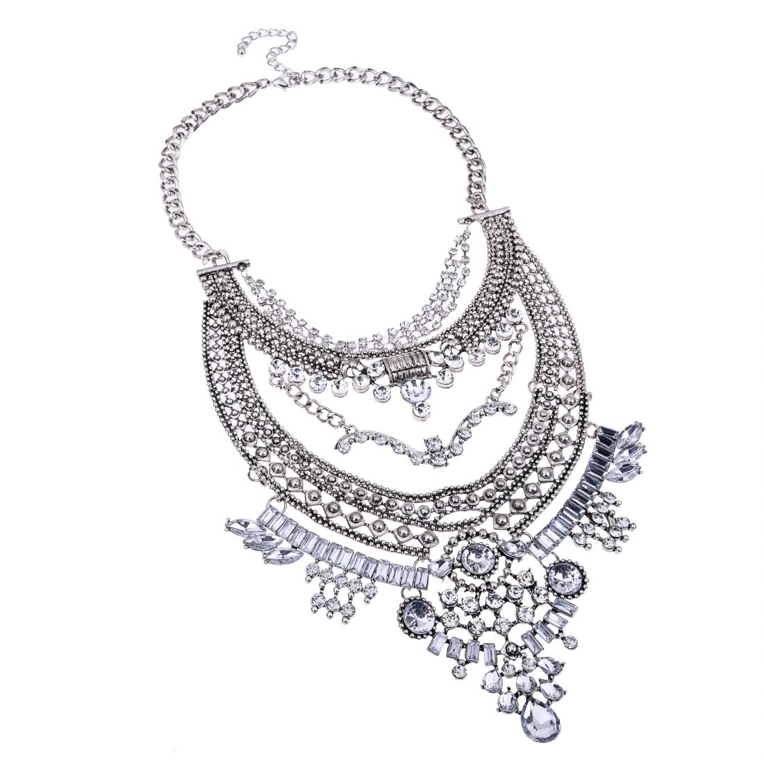 1100x1100 Ethnic Vintage Style Gold Silver Chain Rhinestone Crystal Bib