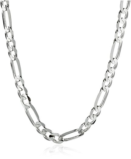 431x523 Men's 14k White Gold 4.65mm Figaro Chain Necklace, 22