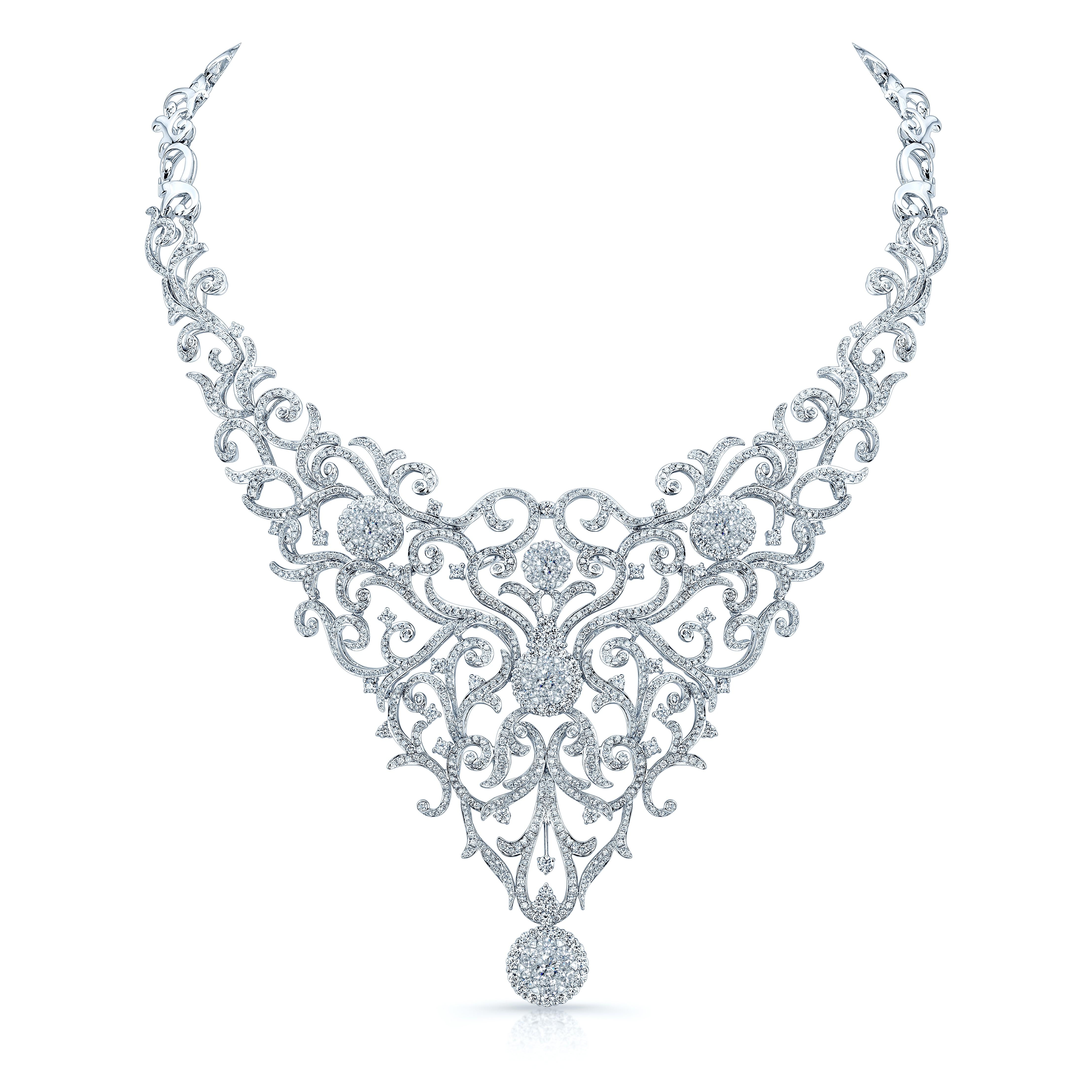4431x4431 Round Cut Diamond Hekate Necklace 18k White Gold 20.50 Carat