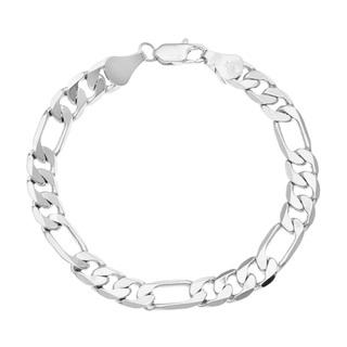 320x320 Simon Frank 14k White Gold Overlay 8 Inch Figaro Chain Bracelet