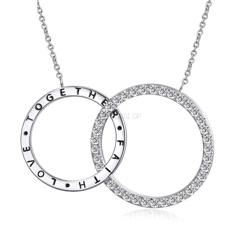 800x800 Double Circle Silver Plated Necklace Raf Rossi Gold Plated