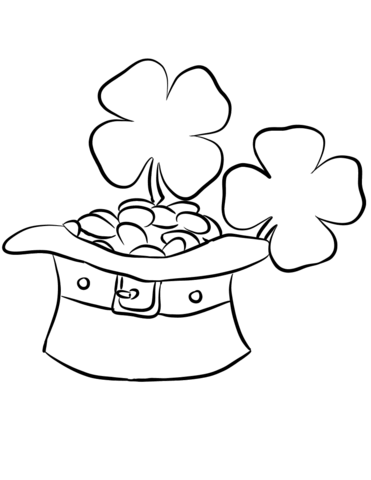 371x480 Leprechaun Hat And Gold Coins Coloring Page From St. Patrick's Day