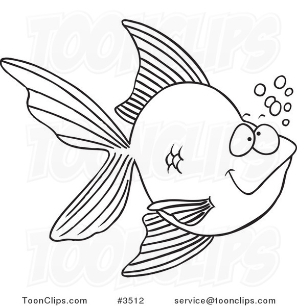 581x600 Cartoon Black And White Line Drawing Of A Goldfish With Bubbles
