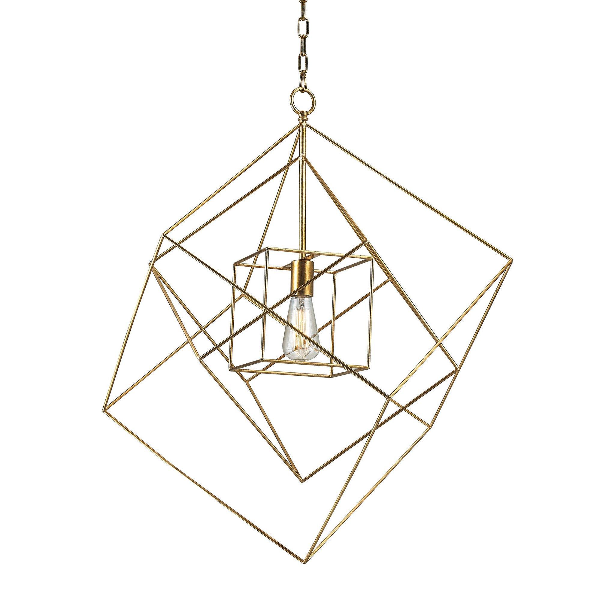 2048x2048 Large Neil 1 Light Box Pendant In Gold Leaf Design By Bd Fine
