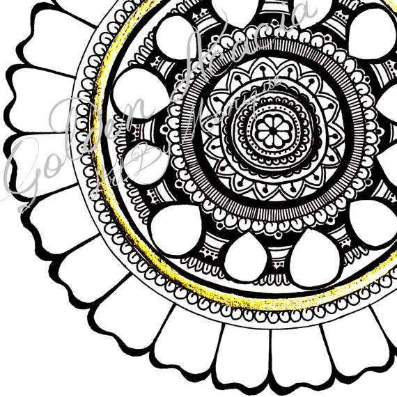 570x570 Leo Mandala Intricate Pen And Ink Painting With Gold Leaf Detail