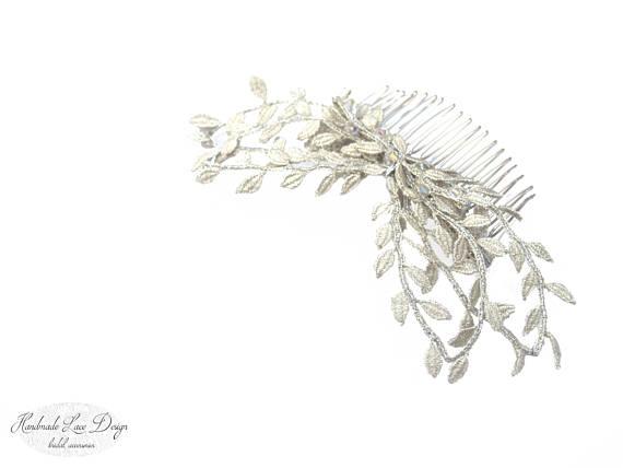 570x428 Rustic Silver Leaves, Bobbin Lace Romantic Leaves Tiara, Wedding