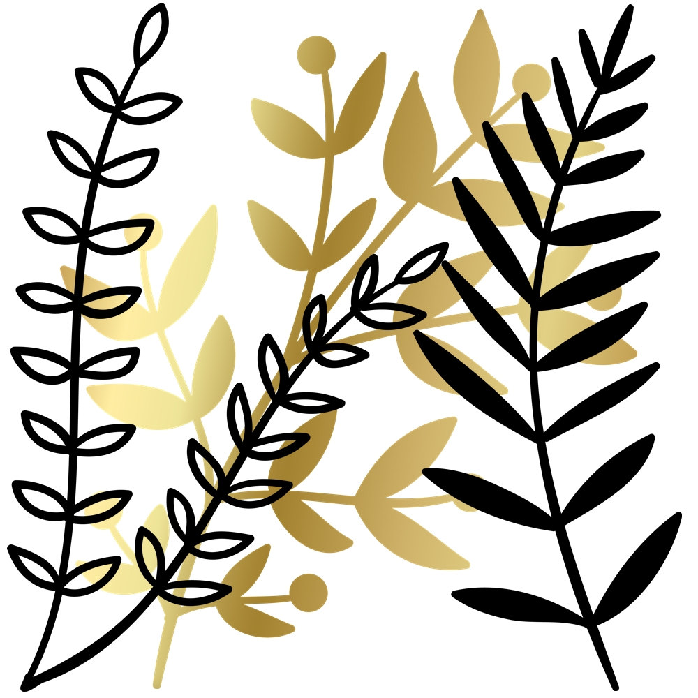 1000x1000 Branch And Leaf Clipart Set