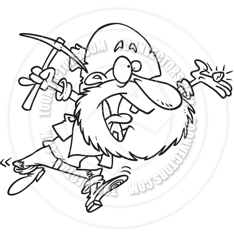 460x460 Cartoon Gold Prospector (Black And White Line Art) By Ron Leishman