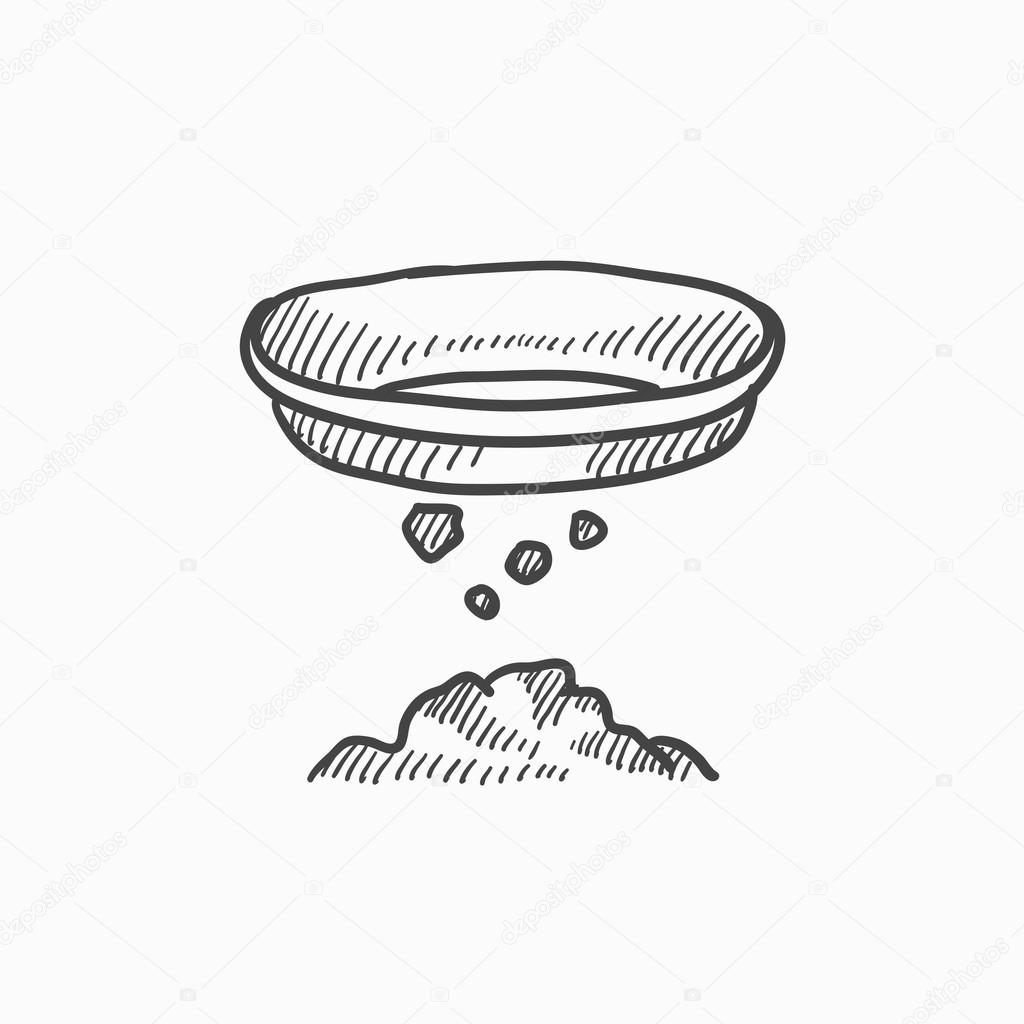 1024x1024 Bowl For Sifting Gold Sketch Icon. Stock Vector Rastudio
