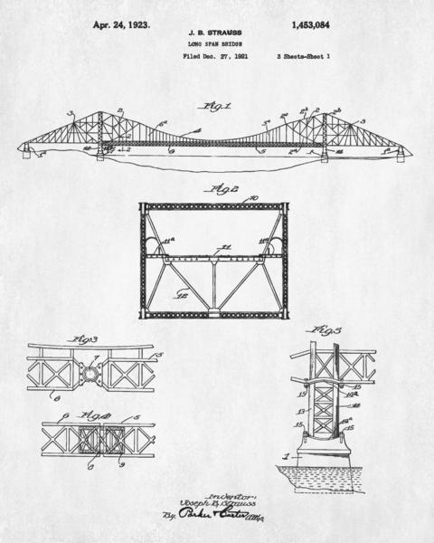 480x600 Golden Gate Bridge Patent Print Suspension Bridge Blueprint