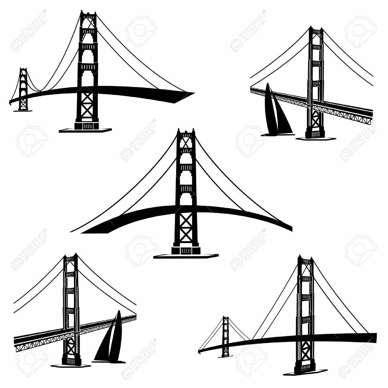 1300x1300 Golden Gate Bridge San Francisco Royalty Free Cliparts, Vectors