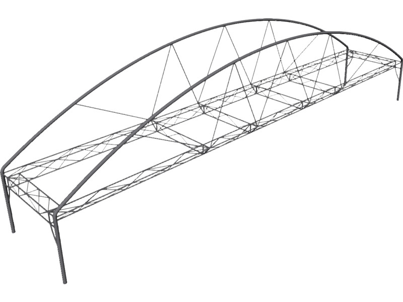 800x600 Arched Fink Truss Bridge 3d Cad Model